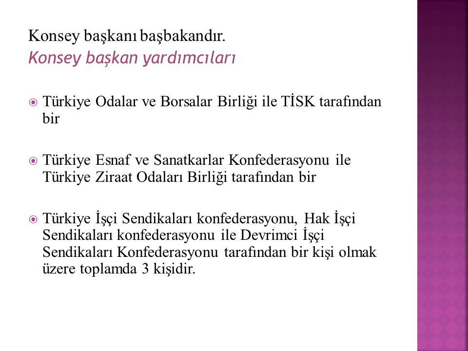 Konsey başkanı başbakandır. Konsey başkan yardımcıları  Türkiye Odalar ve Borsalar Birliği ile TİSK tarafından bir  Türkiye Esnaf ve Sanatkarlar Kon