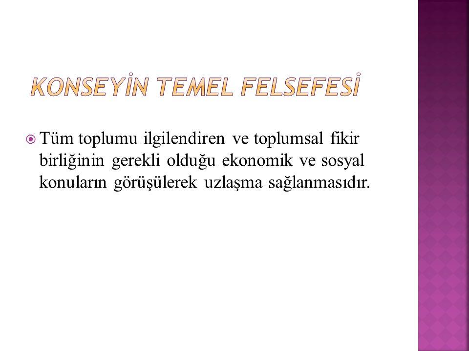 TÜRK-İŞ → ' Grev ve serbest toplu pazarlık haklarını ortadan kaldıracak ya da işlemez hale getirecek.' Ağaç-İş → ' ESK'da amaç toplu pazarlık hakkı önünde ikinci bir Yüksek Hakem Kurulu yaratmak.' HAK-İŞ → ' Konseyin amacı Türkiye'deki işçi ücretlerini dondurmaya yöneliktir.'