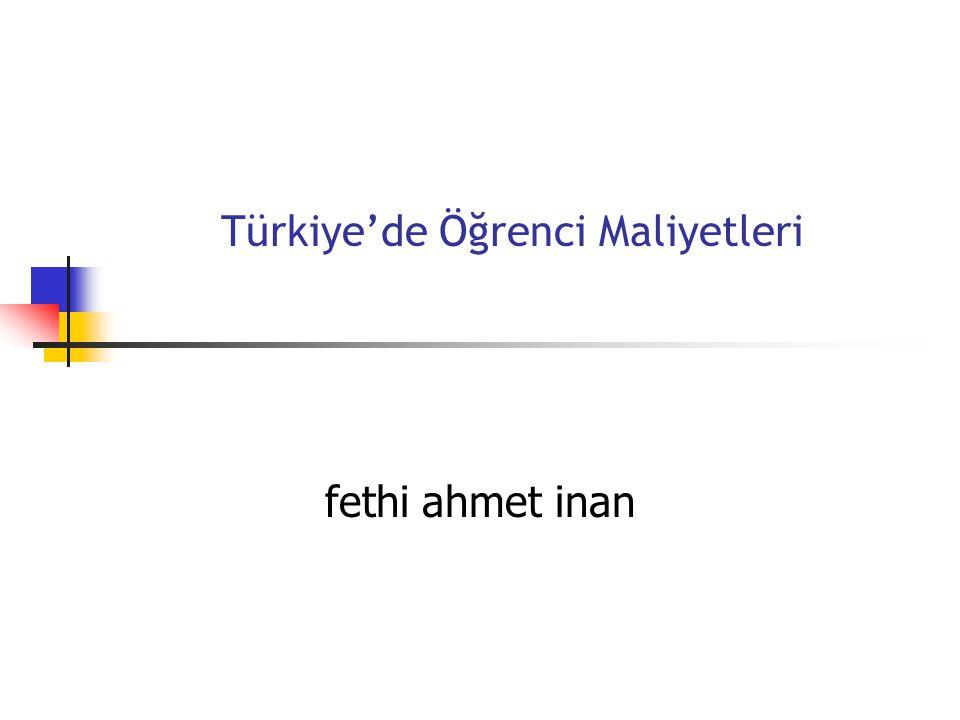 Türkiye'de Öğrenci Maliyetleri fethi ahmet inan