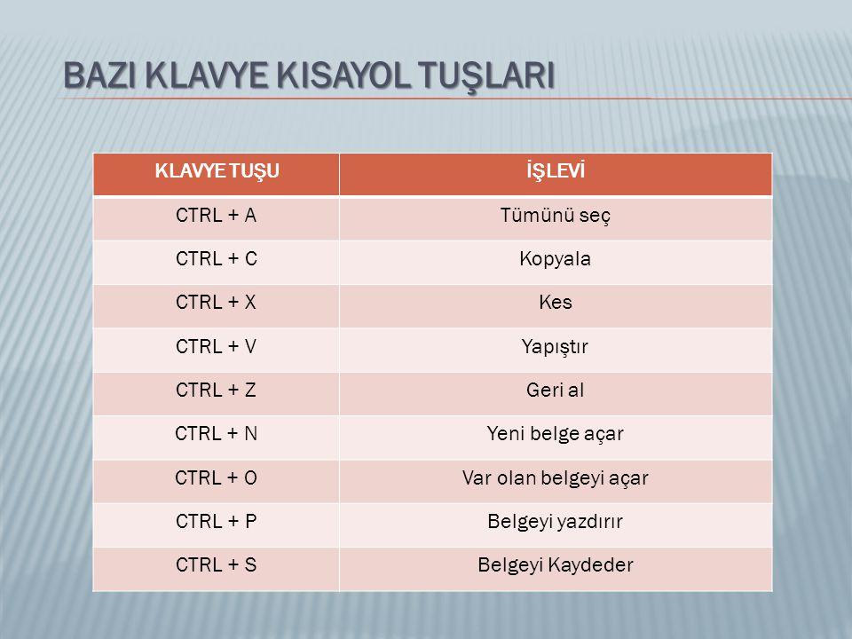 BAZI KLAVYE KISAYOL TUŞLARI KLAVYE TUŞUİŞLEVİ CTRL + ATümünü seç CTRL + CKopyala CTRL + XKes CTRL + VYapıştır CTRL + ZGeri al CTRL + NYeni belge açar