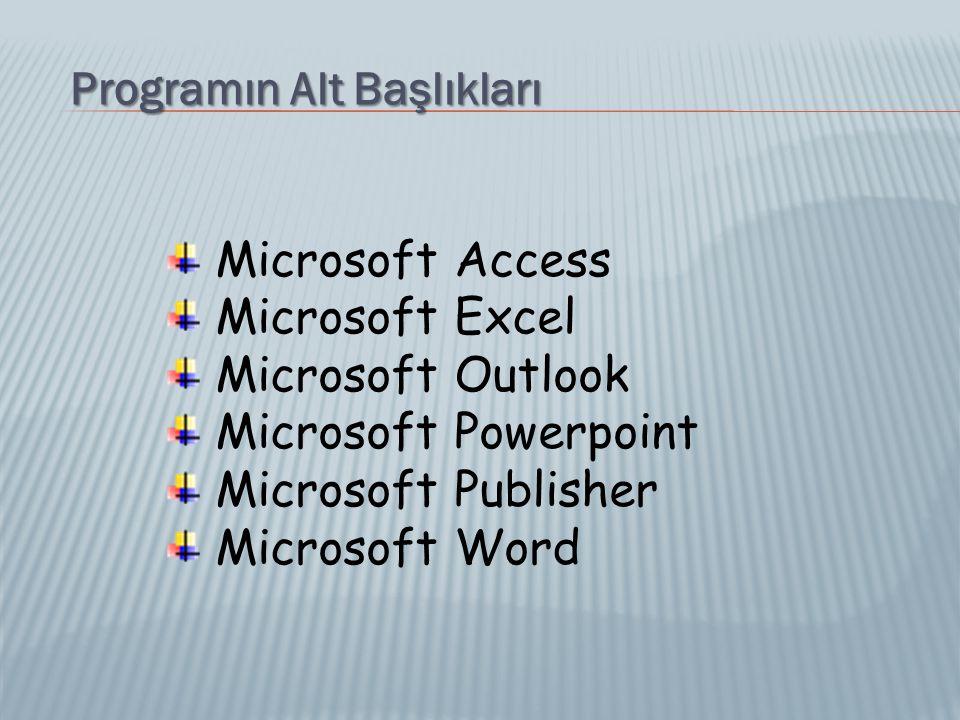 Programın Alt Başlıkları Microsoft Access Microsoft Excel Microsoft Outlook Microsoft Powerpoint Microsoft Publisher Microsoft Word
