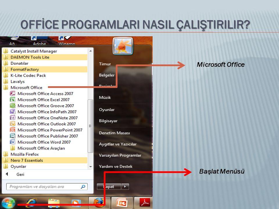 OFFİCE PROGRAMLARI NASIL ÇALIŞTIRILIR? Microsoft Office Başlat Menüsü