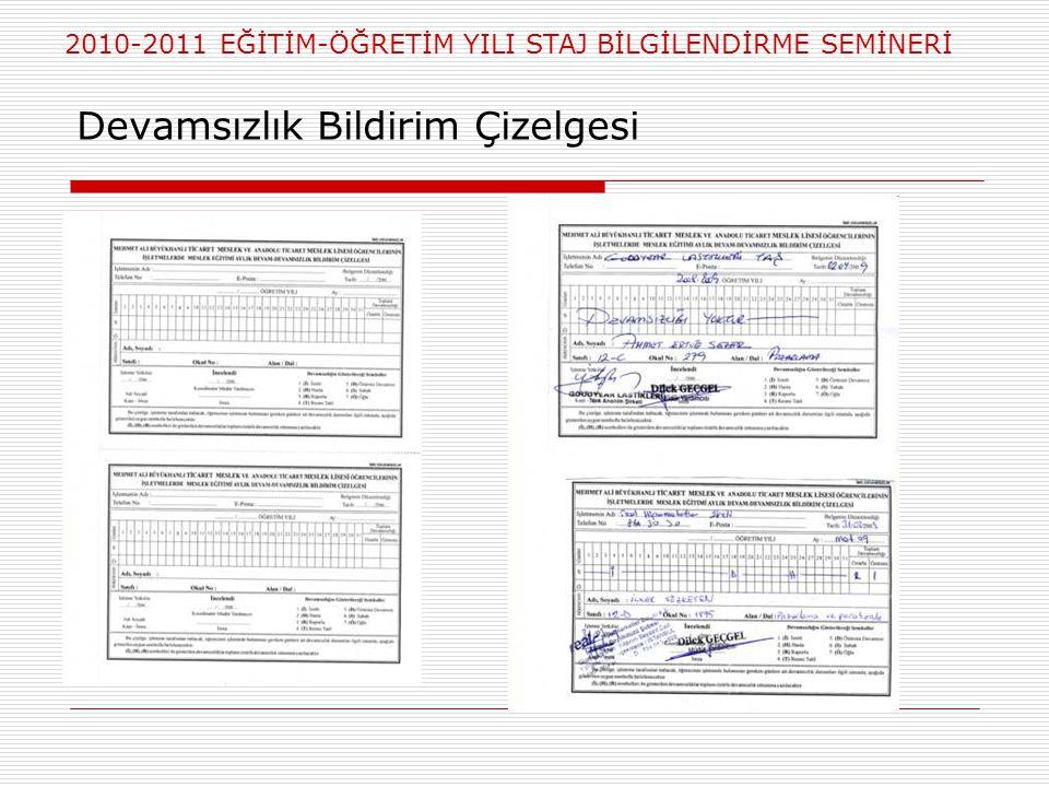 2010-2011 EĞİTİM-ÖĞRETİM YILI STAJ BİLGİLENDİRME SEMİNERİ Devamsızlık Bildirim Çizelgesi