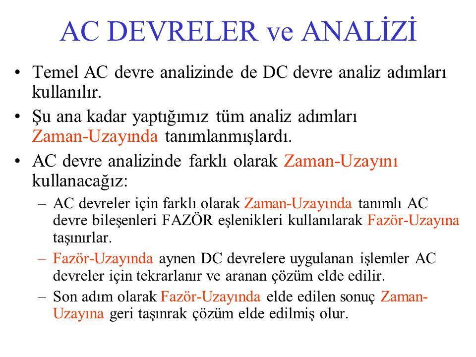 AC DEVRELER ve ANALİZİ Temel AC devre analizinde de DC devre analiz adımları kullanılır. Şu ana kadar yaptığımız tüm analiz adımları Zaman-Uzayında ta