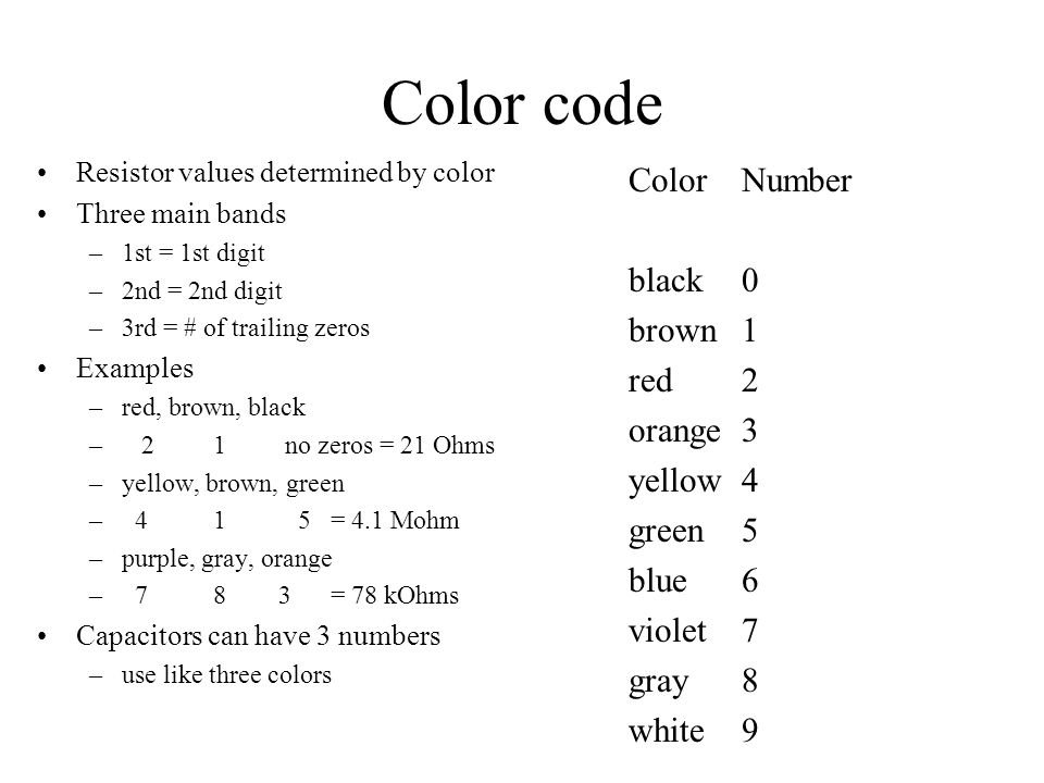 Color code Resistor values determined by color Three main bands –1st = 1st digit –2nd = 2nd digit –3rd = # of trailing zeros Examples –red, brown, bla