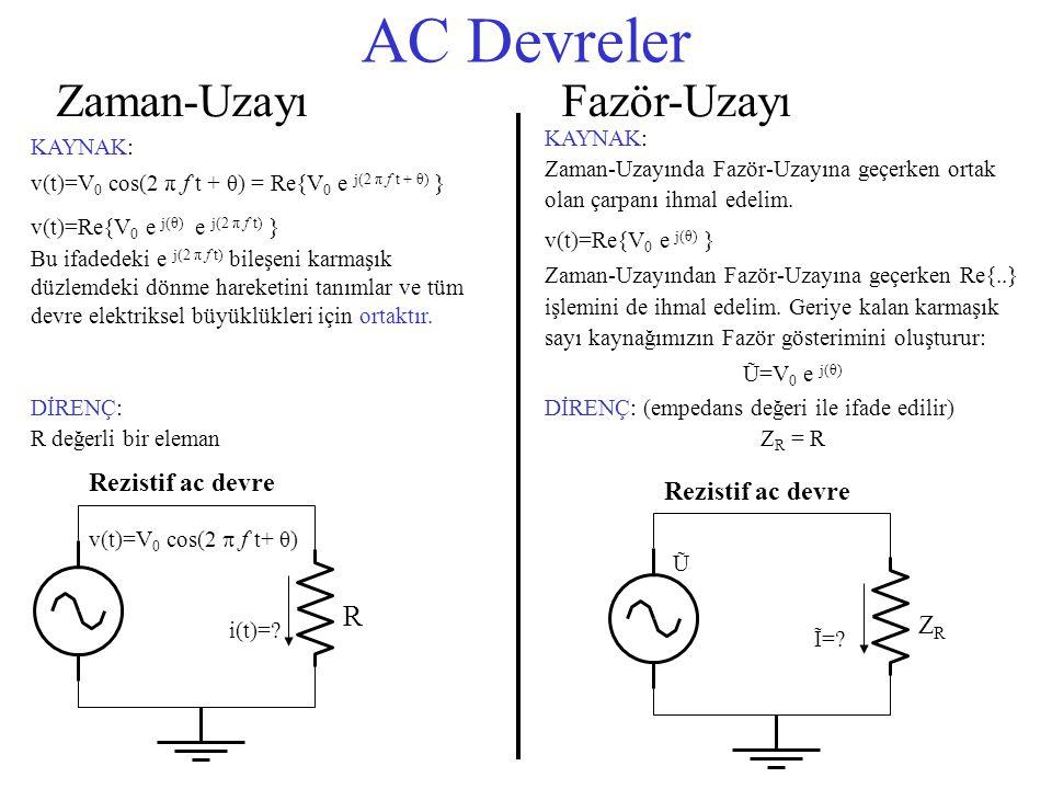 AC Devreler Zaman-Uzayı v(t)=V 0 cos(2  f t+ θ) R i(t)=? Rezistif ac devre Ũ ZRZR Ĩ=? Rezistif ac devre Fazör-Uzayı KAYNAK: v(t)=V 0 cos(2 π f t + θ)