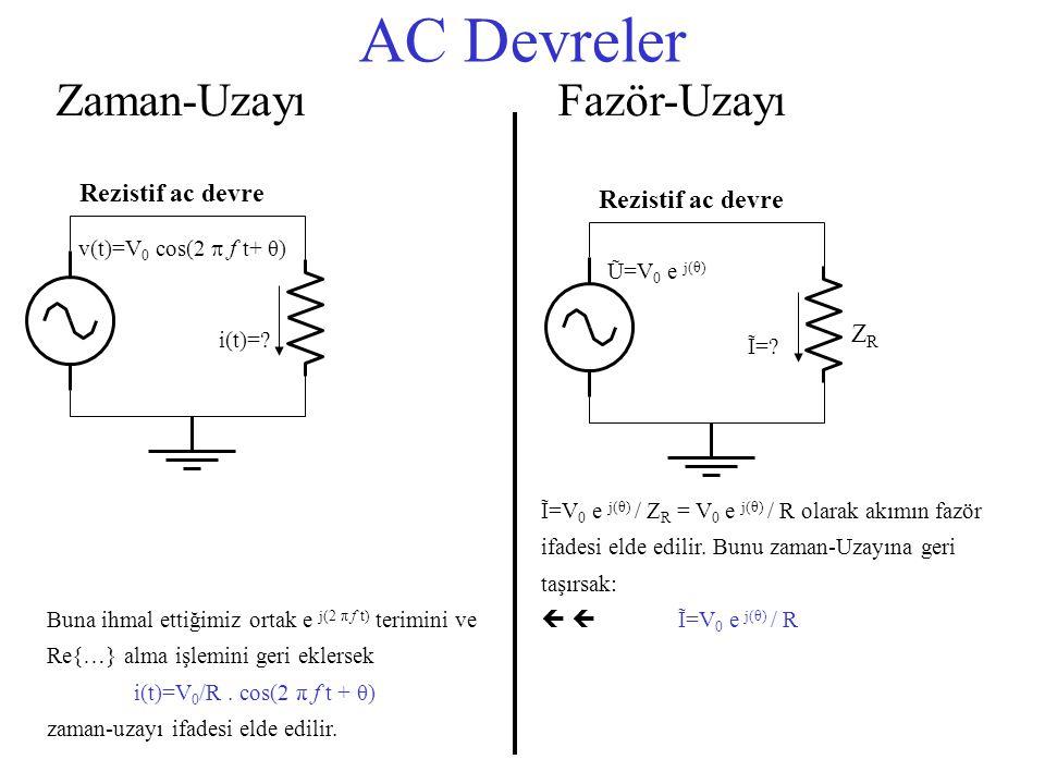 AC Devreler Zaman-Uzayı v(t)=V 0 cos(2  f t+ θ) i(t)=? Rezistif ac devre Ũ=V 0 e j(θ) ZRZR Ĩ=? Rezistif ac devre Fazör-Uzayı Ĩ=V 0 e j(θ) / Z R = V 0