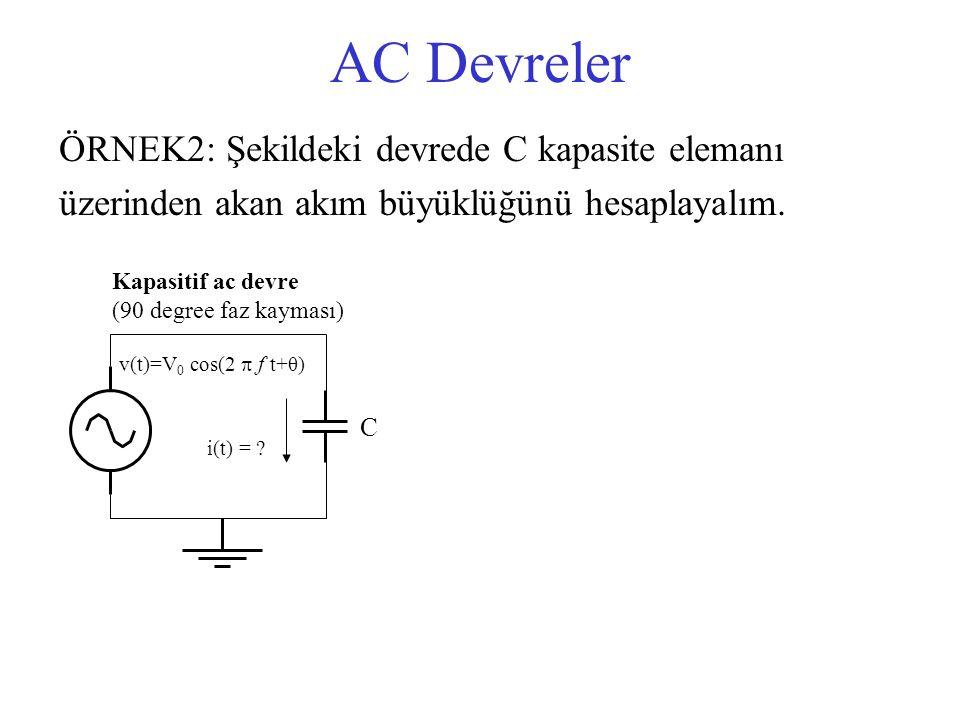 AC Devreler ÖRNEK2: Şekildeki devrede C kapasite elemanı üzerinden akan akım büyüklüğünü hesaplayalım. v(t)=V 0 cos(2  f t+θ) C i(t) = ? Kapasitif ac