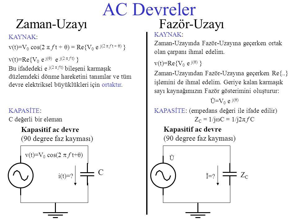 AC Devreler Zaman-UzayıFazör-Uzayı KAYNAK: v(t)=V 0 cos(2 π f t + θ) = Re{V 0 e j(2 π f t + θ) } v(t)=Re{V 0 e j(θ) e j(2 π f t) } Bu ifadedeki e j(2 π f t) bileşeni karmaşık düzlemdeki dönme hareketini tanımlar ve tüm devre elektriksel büyüklükleri için ortaktır.