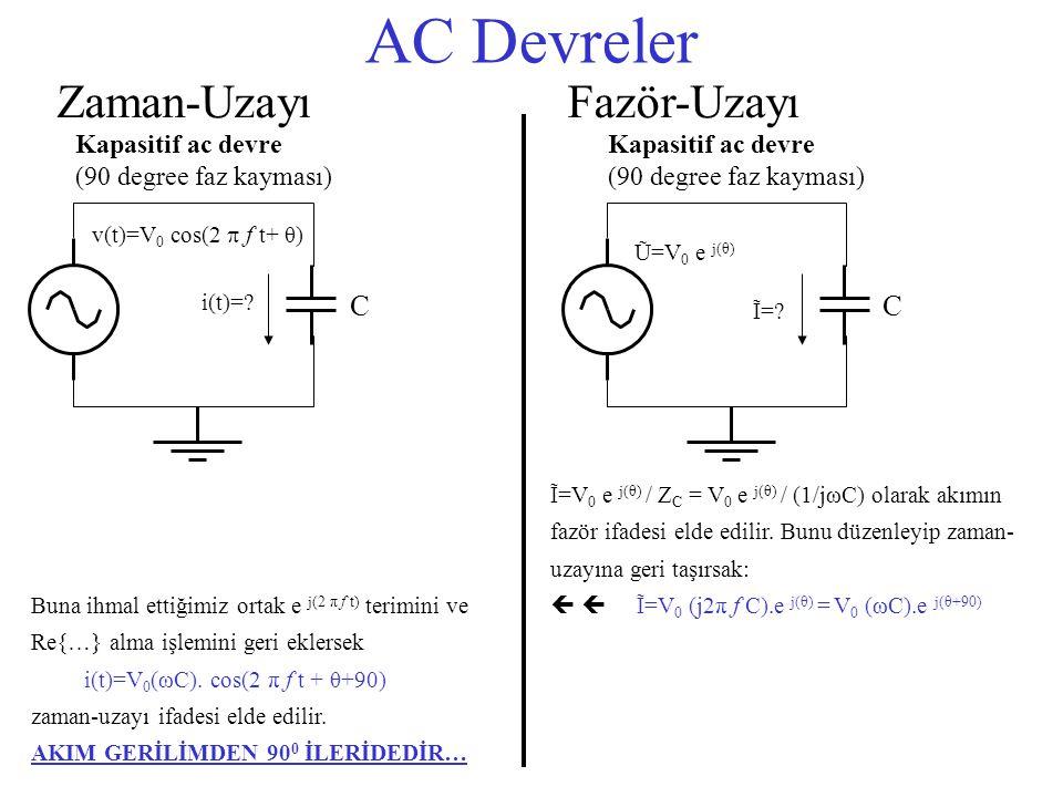AC Devreler Zaman-UzayıFazör-Uzayı Ĩ=V 0 e j(θ) / Z C = V 0 e j(θ) / (1/jωC) olarak akımın fazör ifadesi elde edilir. Bunu düzenleyip zaman- uzayına g