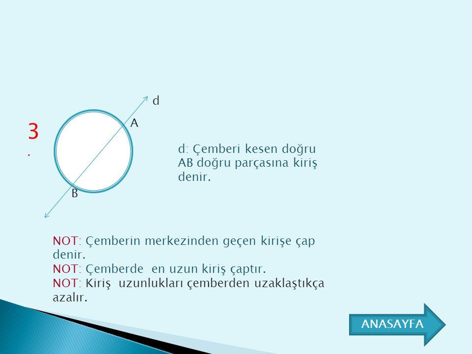 3.3. A B d: Çemberi kesen doğru AB doğru parçasına kiriş denir. d NOT: Çemberin merkezinden geçen kirişe çap denir. NOT: Çemberde en uzun kiriş çaptır
