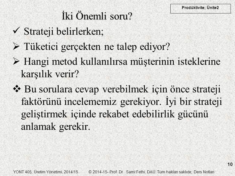 YONT 405, Üretim Yönetimi, 2014/15 © 2014-15- Prof. Dr. Sami Fethi, DAÜ, Tüm hakları saklıdır, Ders Notları Prodüktivite; Ünite2 10 İki Önemli soru? S