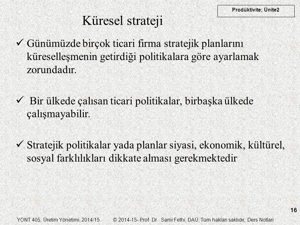 YONT 405, Üretim Yönetimi, 2014/15 © 2014-15- Prof. Dr. Sami Fethi, DAÜ, Tüm hakları saklıdır, Ders Notları Prodüktivite; Ünite2 16 Küresel strateji G