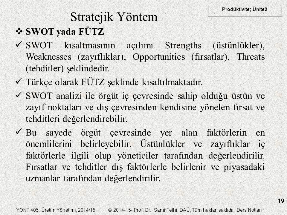 YONT 405, Üretim Yönetimi, 2014/15 © 2014-15- Prof. Dr. Sami Fethi, DAÜ, Tüm hakları saklıdır, Ders Notları Prodüktivite; Ünite2 19 Stratejik Yöntem 