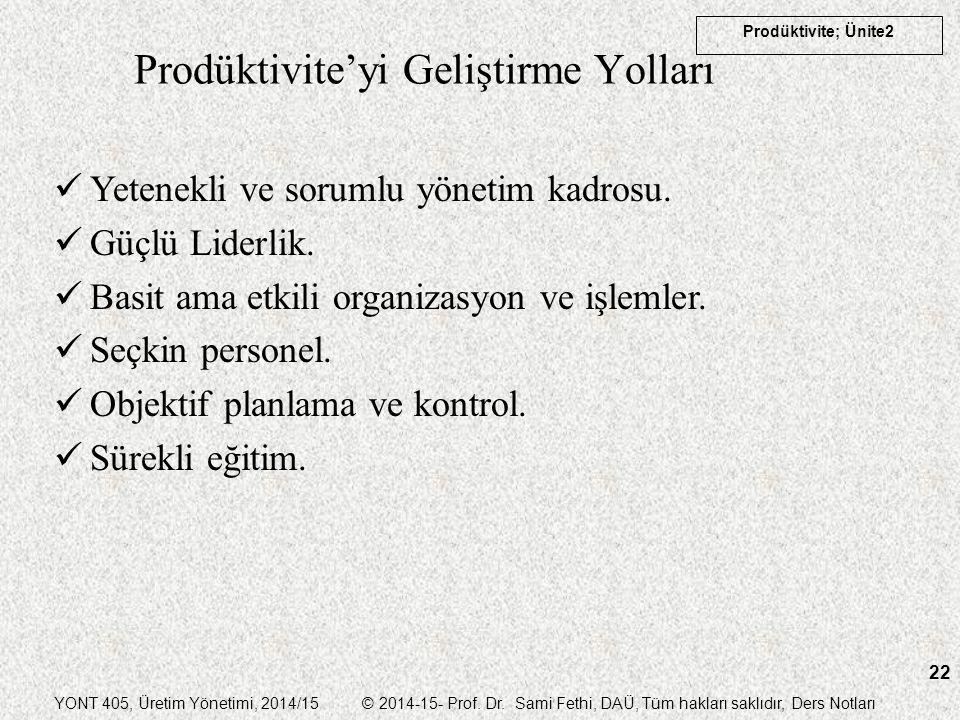 YONT 405, Üretim Yönetimi, 2014/15 © 2014-15- Prof. Dr. Sami Fethi, DAÜ, Tüm hakları saklıdır, Ders Notları Prodüktivite; Ünite2 22 Prodüktivite'yi Ge