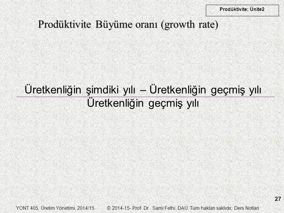 YONT 405, Üretim Yönetimi, 2014/15 © 2014-15- Prof. Dr. Sami Fethi, DAÜ, Tüm hakları saklıdır, Ders Notları Prodüktivite; Ünite2 27 Prodüktivite Büyüm