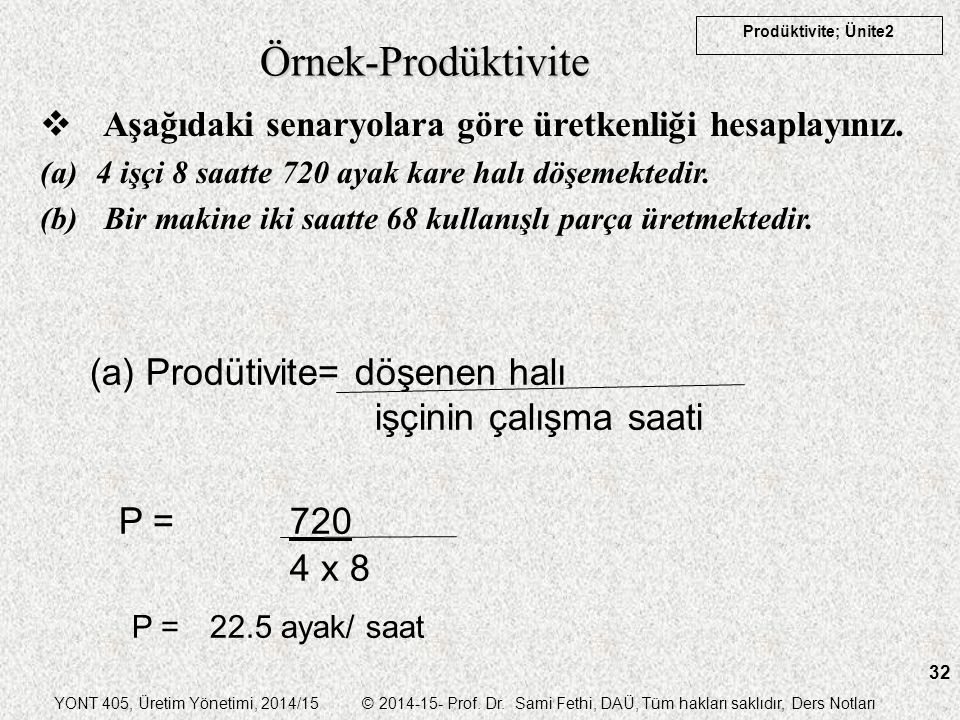 YONT 405, Üretim Yönetimi, 2014/15 © 2014-15- Prof. Dr. Sami Fethi, DAÜ, Tüm hakları saklıdır, Ders Notları Prodüktivite; Ünite2 32 Örnek-Prodüktivite