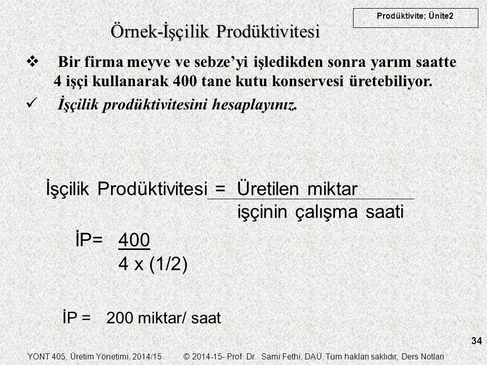 YONT 405, Üretim Yönetimi, 2014/15 © 2014-15- Prof. Dr. Sami Fethi, DAÜ, Tüm hakları saklıdır, Ders Notları Prodüktivite; Ünite2 34 Örnek-İşçilik Prod