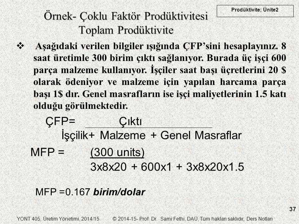 YONT 405, Üretim Yönetimi, 2014/15 © 2014-15- Prof. Dr. Sami Fethi, DAÜ, Tüm hakları saklıdır, Ders Notları Prodüktivite; Ünite2 37 Örnek- Çoklu Faktö