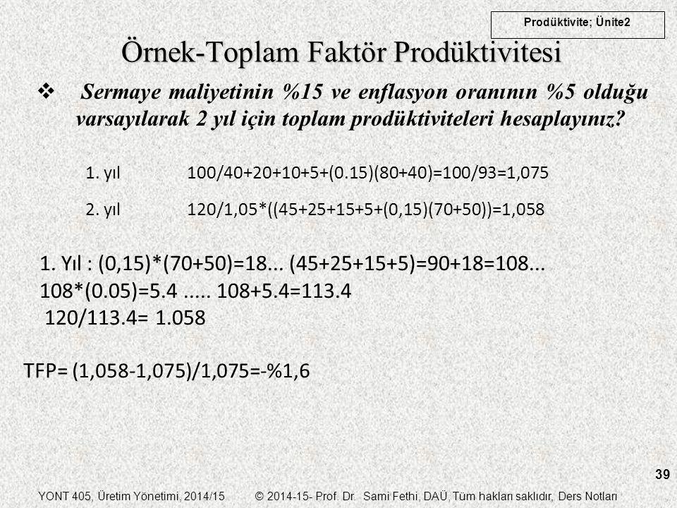 YONT 405, Üretim Yönetimi, 2014/15 © 2014-15- Prof. Dr. Sami Fethi, DAÜ, Tüm hakları saklıdır, Ders Notları Prodüktivite; Ünite2 39 Örnek-Toplam Faktö