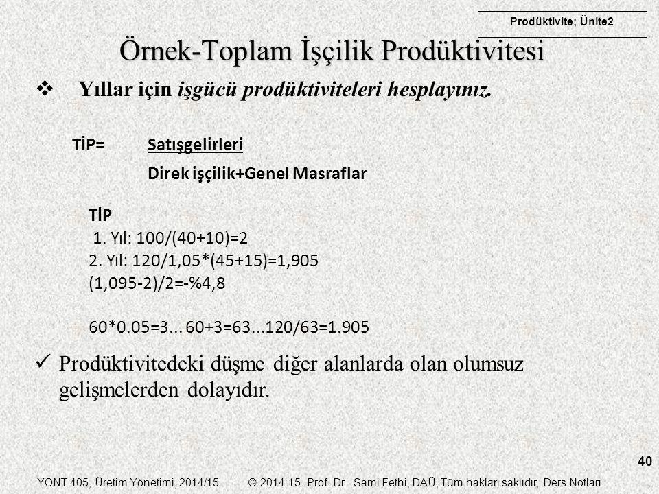 YONT 405, Üretim Yönetimi, 2014/15 © 2014-15- Prof. Dr. Sami Fethi, DAÜ, Tüm hakları saklıdır, Ders Notları Prodüktivite; Ünite2 40 Örnek-Toplam İşçil