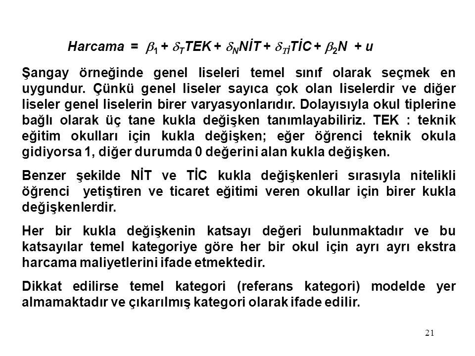 21 Harcama =  1  +  T TEK +  N NİT +   İ TİC +  2 N + u Şangay örneğinde genel liseleri temel sınıf olarak seçmek en uygundur. Çünkü genel lise