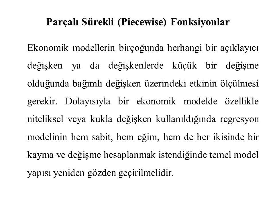 Parçalı Sürekli (Piecewise) Fonksiyonlar Ekonomik modellerin birçoğunda herhangi bir açıklayıcı değişken ya da değişkenlerde küçük bir değişme olduğun