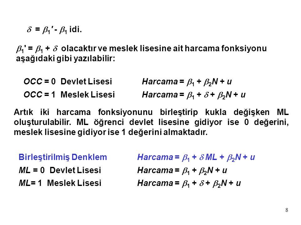 8  1 ' =  1 +  olacaktır ve meslek lisesine ait harcama fonksiyonu aşağıdaki gibi yazılabilir: OCC = 0 Devlet LisesiHarcama =  1 +  2 N + u OCC =