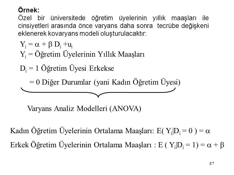 87 Y i =  +  D i +u i Y i = Öğretim Üyelerinin Yıllık Maaşları D i = 1 Öğretim Üyesi Erkekse = 0 Diğer Durumlar (yani Kadın Öğretim Üyesi) Varyans A