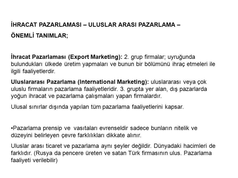 İHRACAT PAZARLAMASI – ULUSLAR ARASI PAZARLAMA – ÖNEMLİ TANIMLAR; İhracat Pazarlaması (Export Marketing): 2.