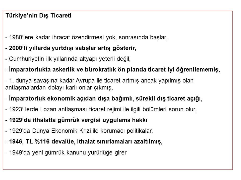 Türkiye'nin Dış Ticareti - 1980'lere kadar ihracat özendirmesi yok, sonrasında başlar, - 2000'li yıllarda yurtdışı satışlar artış gösterir, - Cumhuriyetin ilk yıllarında altyapı yeterli değil, - İmparatorlukta askerlik ve bürokratlık ön planda ticaret iyi öğrenilememiş, - 1.
