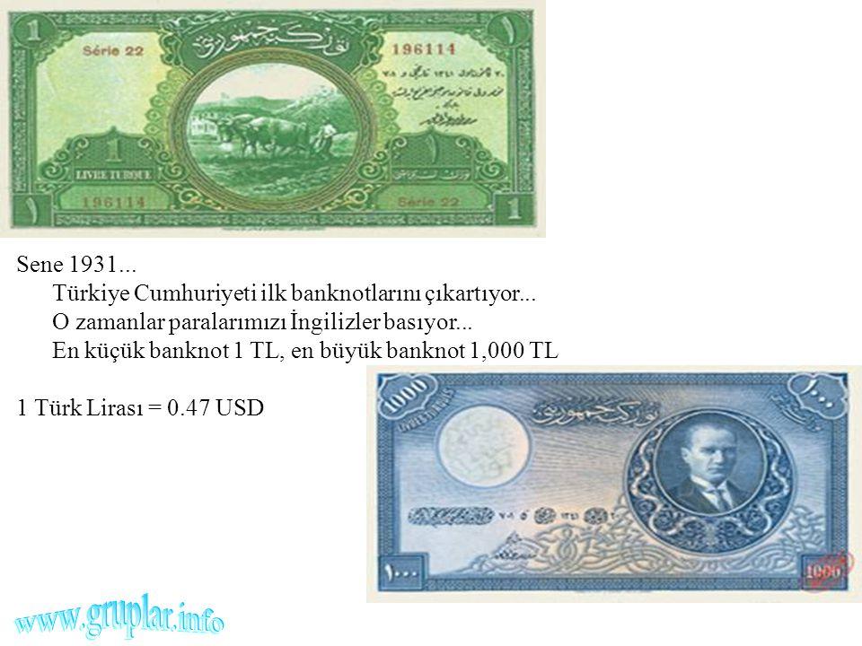 Sene 1931... Türkiye Cumhuriyeti ilk banknotlarını çıkartıyor... O zamanlar paralarımızı İngilizler basıyor... En küçük banknot 1 TL, en büyük banknot
