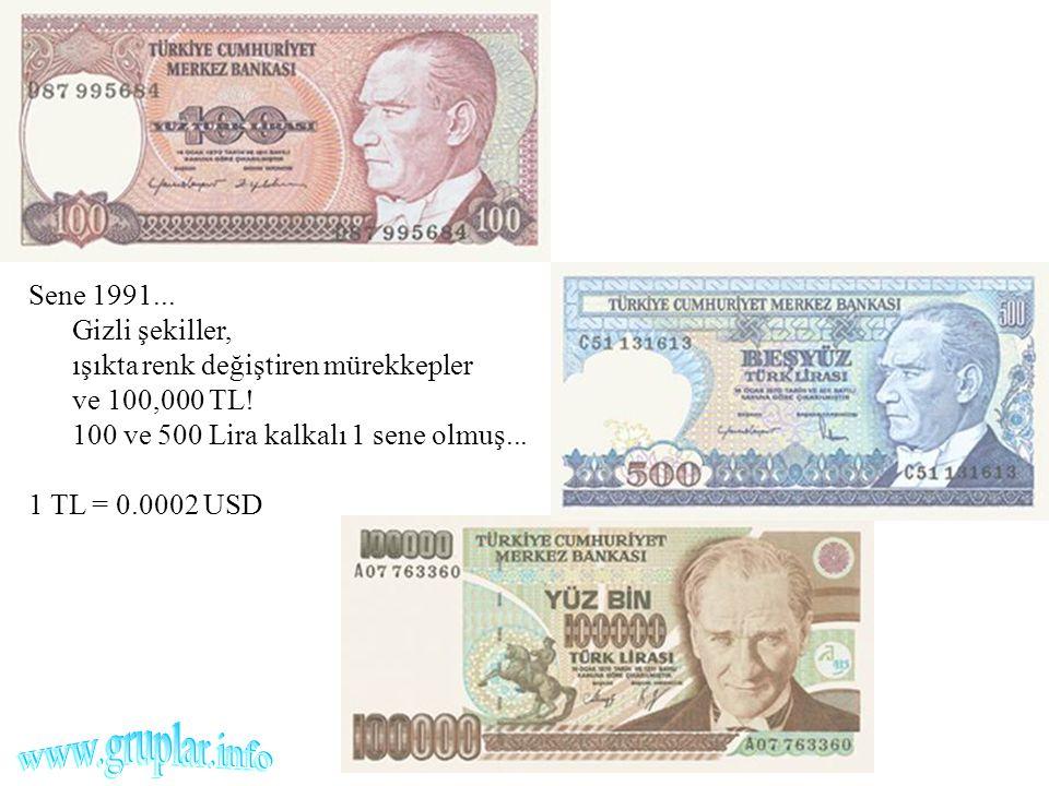 Sene 1991... Gizli şekiller, ışıkta renk değiştiren mürekkepler ve 100,000 TL! 100 ve 500 Lira kalkalı 1 sene olmuş... 1 TL = 0.0002 USD