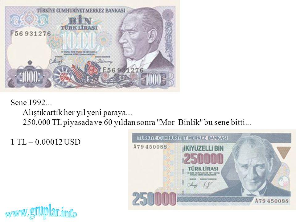 Sene 1992... Alıştık artık her yıl yeni paraya... 250,000 TL piyasada ve 60 yıldan sonra
