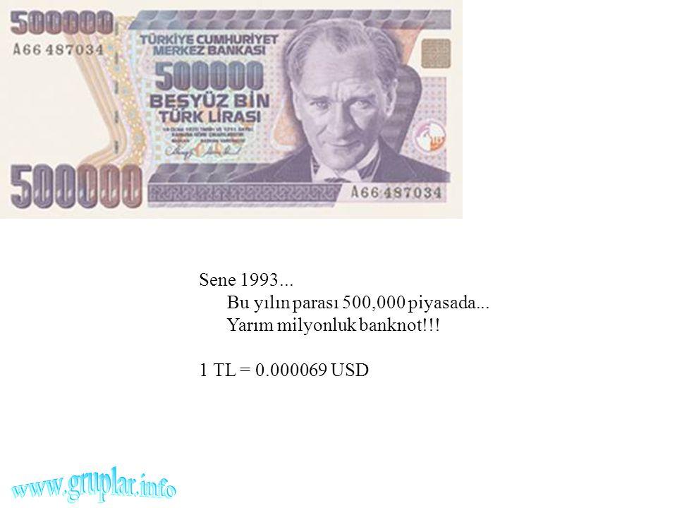 Sene 1993... Bu yılın parası 500,000 piyasada... Yarım milyonluk banknot!!! 1 TL = 0.000069 USD