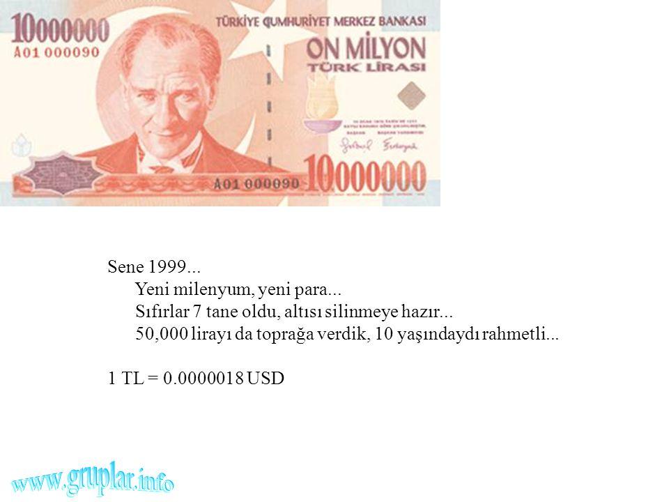 Sene 1999... Yeni milenyum, yeni para... Sıfırlar 7 tane oldu, altısı silinmeye hazır... 50,000 lirayı da toprağa verdik, 10 yaşındaydı rahmetli... 1
