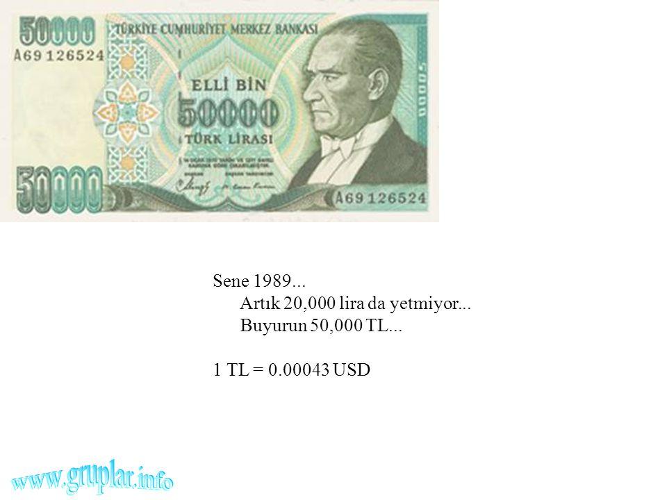 Sene 1989... Artık 20,000 lira da yetmiyor... Buyurun 50,000 TL... 1 TL = 0.00043 USD