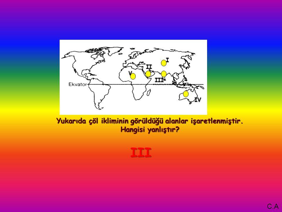 I Yukarıda çöl ikliminin görüldüğü alanlar işaretlenmiştir. Hangisi yanlıştır V IV III II III C.A