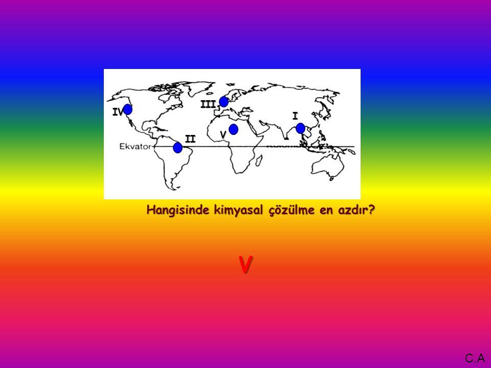 I Hangisinde kimyasal çözülme en azdır V IV III II V C.A