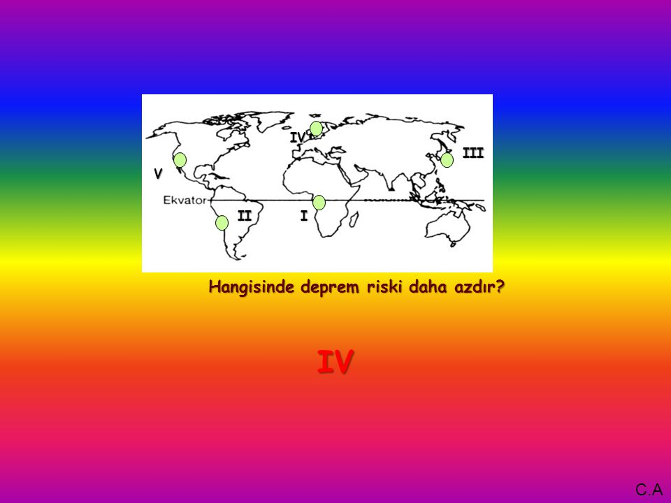 I Hangisinde deprem riski daha azdır V IV III II IV C.A