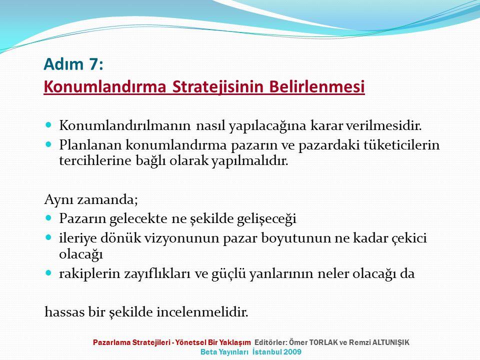 Adım 7: Konumlandırma Stratejisinin Belirlenmesi Konumlandırılmanın nasıl yapılacağına karar verilmesidir. Planlanan konumlandırma pazarın ve pazardak