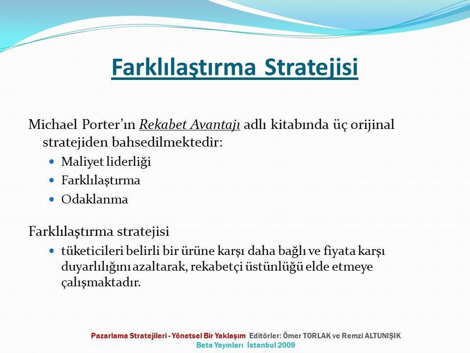Farklılaştırma Stratejisi Michael Porter'ın Rekabet Avantajı adlı kitabında üç orijinal stratejiden bahsedilmektedir: Maliyet liderliği Farklılaştırma