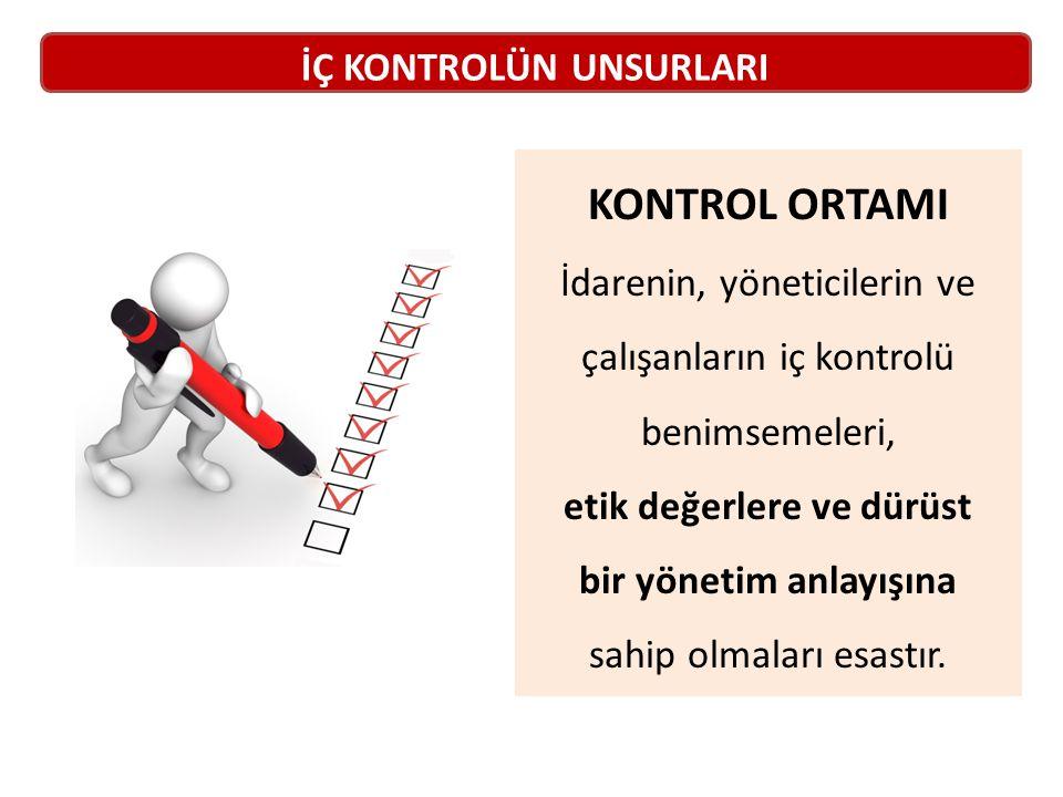 KONTROL ORTAMI İdarenin, yöneticilerin ve çalışanların iç kontrolü benimsemeleri, etik değerlere ve dürüst bir yönetim anlayışına sahip olmaları esastır.