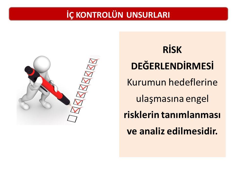 RİSK DEĞERLENDİRMESİ Kurumun hedeflerine ulaşmasına engel risklerin tanımlanması ve analiz edilmesidir.