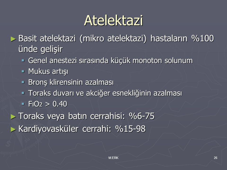 M.ERK26 Atelektazi ► Basit atelektazi (mikro atelektazi) hastaların %100 ünde gelişir  Genel anestezi sırasında küçük monoton solunum  Mukus artışı