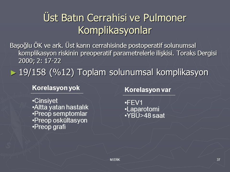 M.ERK37 Üst Batın Cerrahisi ve Pulmoner Komplikasyonlar Başoğlu ÖK ve ark. Üst karın cerrahisinde postoperatif solunumsal komplikasyon riskinin preope