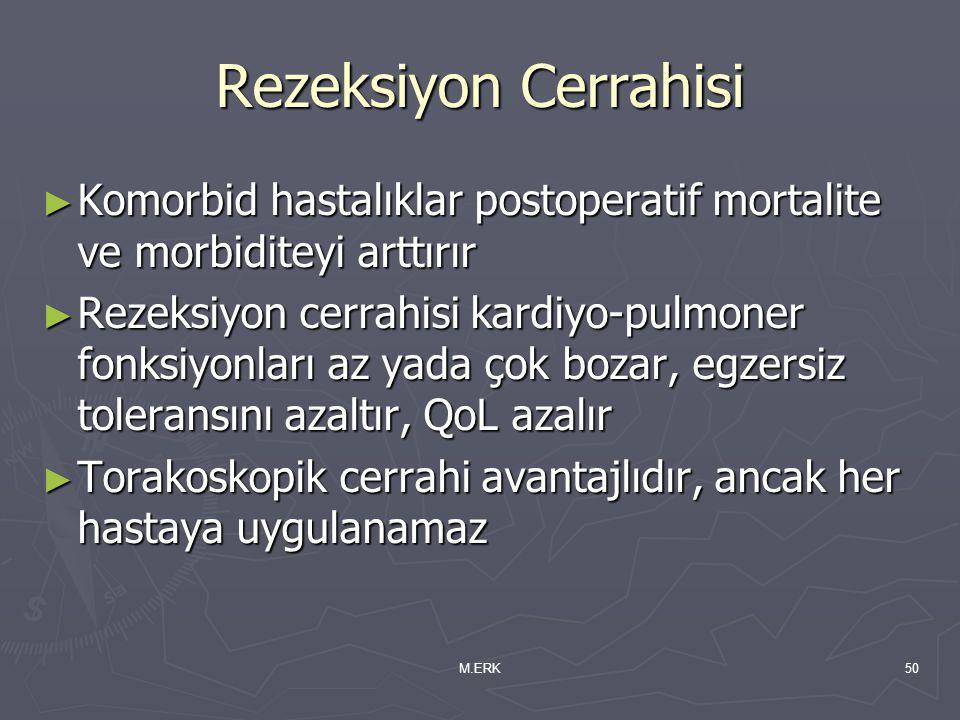 M.ERK50 Rezeksiyon Cerrahisi ► Komorbid hastalıklar postoperatif mortalite ve morbiditeyi arttırır ► Rezeksiyon cerrahisi kardiyo-pulmoner fonksiyonla