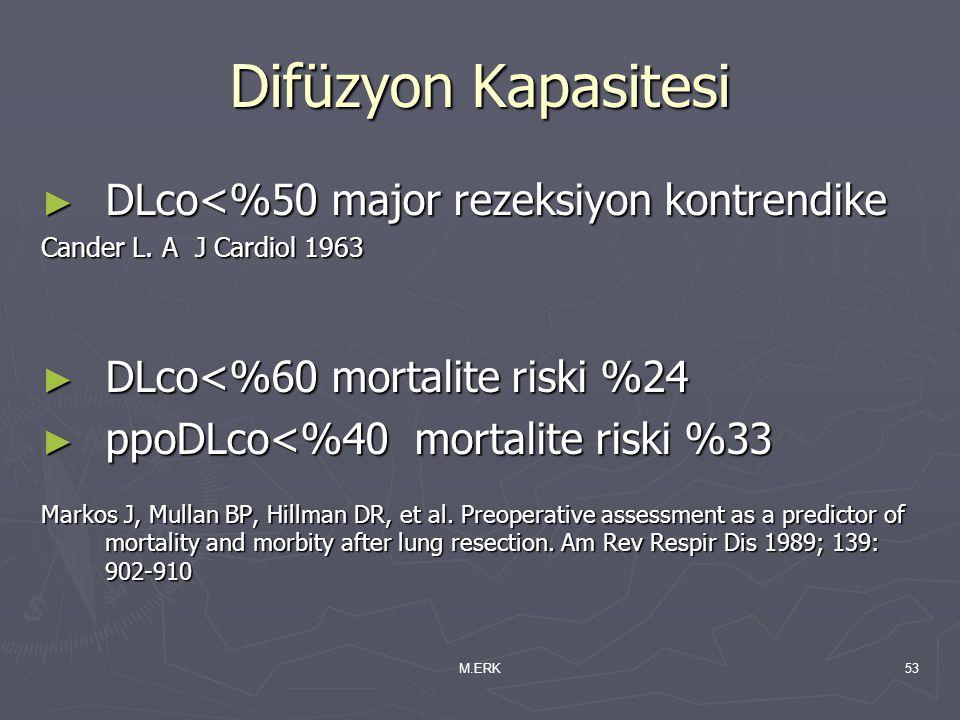 M.ERK53 Difüzyon Kapasitesi ► DLco<%50 major rezeksiyon kontrendike Cander L. A J Cardiol 1963 ► DLco<%60 mortalite riski %24 ► ppoDLco<%40 mortalite