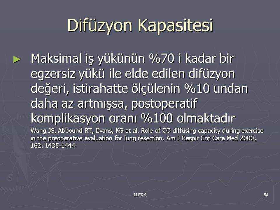 M.ERK54 Difüzyon Kapasitesi ► Maksimal iş yükünün %70 i kadar bir egzersiz yükü ile elde edilen difüzyon değeri, istirahatte ölçülenin %10 undan daha