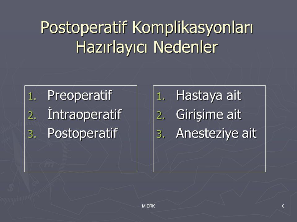 M.ERK6 Postoperatif Komplikasyonları Hazırlayıcı Nedenler 1. Preoperatif 2. İntraoperatif 3. Postoperatif 1. Hastaya ait 2. Girişime ait 3. Anesteziye